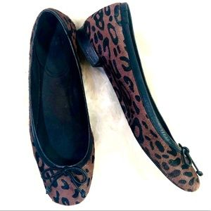 Stuart Weiztman Brown Animal Print Calf Hair Flats